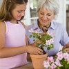 Grandmother and granddaughter planting flowers